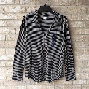 NWT GAP Long Sleeve Striped Top Collar Soft Size L